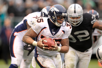 OAKLAND, CA - DECEMBER 19:  Lance Ball #35 of the Denver Broncos runs with the ball during their game against the Oakland Raiders at Oakland-Alameda County Coliseum on December 19, 2010 in Oakland, California.  (Photo by Ezra Shaw/Getty Images)