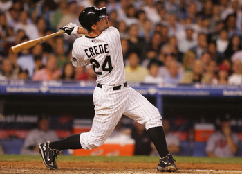 NEW YORK - JULY 15:  American League All-Star Joe Crede #24 of the Chicago White Sox makes contact during the 79th MLB All-Star Game at Yankee Stadium on July 15, 2008 in the Bronx borough of New York City.  (Photo by Jim McIsaac/Getty Images)