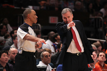 NEW YORK, NY - APRIL 22:  Head coach Mike D'Antoni of the New York Knicks makes his point to referee Danny Crawford against the Boston Celtics in Game Three of the Eastern Conference Quarterfinals in the 2011 NBA Playoffs on April 22, 2011 at Madison Squa