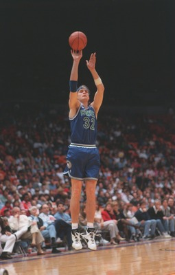 29 Mar 1994: Center Christian Laettner of the Minnesota Timberwolves focuses on the basket as he releases a jump shot during the Timberwolves game against the Los Angeles Lakers at the Great Western Forum in Inglewood, California.