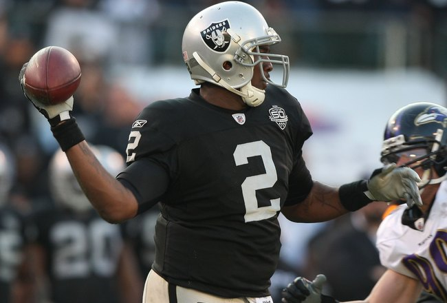 OAKLAND, CA - JANUARY 03:  JaMarcus Russell #2 of the Oakland Raiders in action  against the Baltimore Ravens during an NFL game at Oakland-Alameda County Coliseum on January 3, 2010 in Oakland, California.  (Photo by Jed Jacobsohn/Getty Images)