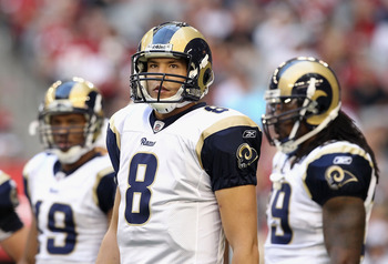 GLENDALE, AZ - DECEMBER 05:  Quarterback Sam Bradford #8 of the St. Louis Rams during the NFL game against the Arizona Cardinals at the University of Phoenix Stadium on December 5, 2010 in Glendale, Arizona. The Rams defeated the Cardinals 19-6.  (Photo b