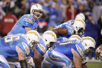 SAN DIEGO, CA - DECEMBER 16:  Quarterback Philip Rivers #17 of the San Diego Chargers goes under center during their game against the San Francisco 49ers at Qualcomm Stadium on December 16, 2010 in San Diego, California.  (Photo by Harry How/Getty Images)