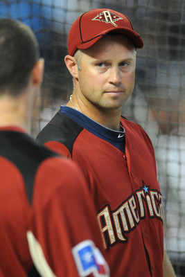 PHOENIX, AZ - JULY 12:  American League All-Star Michael Cuddyer #5 of the Minnesota Twins looks on during batting practice before the start of the 82nd MLB All-Star Game at Chase Field on July 12, 2011 in Phoenix, Arizona.  (Photo by Norm Hall/Getty Imag