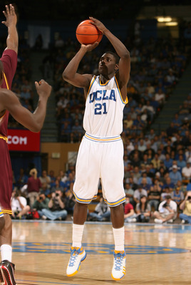 WESTWOOD, CA - JANUARY 17:  Jrue Holiday #21 of the UCLA Bruins puts up a shot against the Arizona State Sun Devils during the college basketball game at Pauley Pavilion on January 17, 2009 in Westwood, California.  The Sun Devils defeated the Bruins 61-5