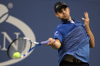 NEW YORK - SEPTEMBER 01:  Andy Roddick of the United States returns a shot against Janko Tipsarevic of Serbia during his second round men's singles match on day three of the 2010 U.S. Open at the USTA Billie Jean King National Tennis Center on September 1