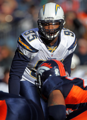 DENVER - JANUARY 02:  Outside linebacker Shaun Phillips #95 of the San Diego Chargers defends against the Denver Broncos at INVESCO Field at Mile High on January 2, 2011 in Denver, Colorado. The Chargers defeated the Broncos 33-28.  (Photo by Doug Pensing
