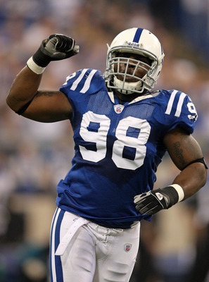 INDIANAPOLIS - DECEMBER 02:  Robert Mathis #98 of the Indianapolis Colts celebrates after a defensive stop during the NFL game against the Jacksonville Jaguars on December 2, 2007 at the RCA Dome in Indianapolis, Indiana. The Colts won 28-25.  (Photo by A