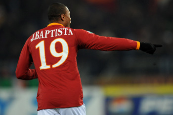 ROME - FEBRUARY 13: Julio Baptista of Roma celebrates after scoring a goal during the Serie A match between AS Roma and US Citta di Palermo at Stadio Olimpico on February 13, 2010 in Rome, Italy.  (Photo by Tullio Puglia/Getty Images)