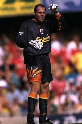 16 Aug 1998:  Brad Friedel of Liverpool stays alert during the FA Carling Premiership match against Southampton at the Dell in Southampton, England. Liverpool won 2-1. \ Mandatory Credit: Graham Chadwick /Allsport