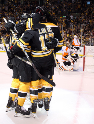 BOSTON, MA - MAY 06:  Milan Lucic #17 of the Boston Bruins is congratulated by teammates after he scored a power play goal as Sergei Bobrovsky #35 of the Philadelphia Flyers stands by on Game Four of the Eastern Conference Semifinals during the 2011 NHL S