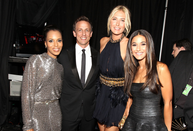 LOS ANGELES, CA - JULY 13:  Actress Kerry Washington, ESPY host Seth Meyers, tennis player Maria Sharapova and actress Emmanuelle Chriqui pose backstage at The 2011 ESPY Awards at Nokia Theatre L.A. Live on July 13, 2011 in Los Angeles, California.  (Phot