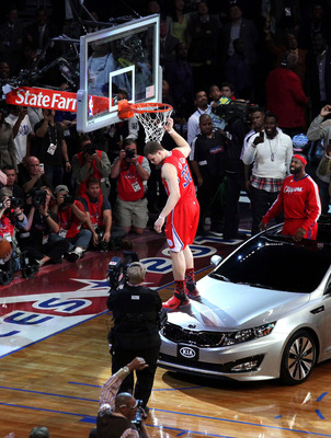 LOS ANGELES, CA - FEBRUARY 19:  Blake Griffin from the L.A. Clippers slam dunks over a car with teammate Baron Davis inside during the Sprite Slam Dunk Contest apart of NBA All-Star Saturday Night at Staples Center on February 19, 2011 in Los Angeles, Cal