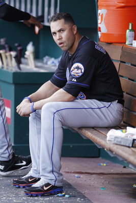 CINCINNATI, OH - JULY 25: Carlos Beltran #15 of the New York Mets looks on during the game against the Cincinnati Reds at Great American Ball Park on July 25, 2011 in Cincinnati, Ohio. (Photo by Joe Robbins/Getty Images)