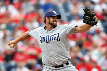 PHILADELPHIA - JULY 25: Relief pitcher Heath Bell #21 of the San Diego Padres throws a pitch during a game against the Philadelphia Phillies at Citizens Bank Park on July 25, 2011 in Philadelphia, Pennsylvania. The Padres won 5-4. (Photo by Hunter Martin/