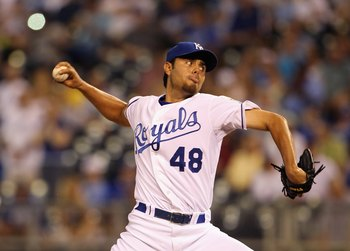 KANSAS CITY, MO - JULY 19:  Closer Joakim Soria #48 of the Kansas City Royals in action during the game against the Chicago White Sox on July 19, 2011 at Kauffman Stadium in Kansas City, Missouri.  (Photo by Jamie Squire/Getty Images)
