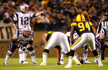 PITTSBURGH, PA - NOVEMBER 14:  Tom Brady #12 of the New England Patriots calls out signals during the game against the Pittsburgh Steelers on November 14, 2010 at Heinz Field in Pittsburgh, Pennsylvania.  (Photo by Jared Wickerham/Getty Images)