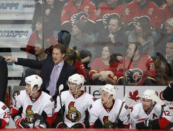 CALGARY, CANADA - FEBRUARY 9: Cory Clouston of the Ottawa Senators during the game against the Calgary Flames on February 9, 2011 at Scotiabank Saddledome in Calgary, Alberta, Canada. (Photo by Dale MacMillan/Getty Images)