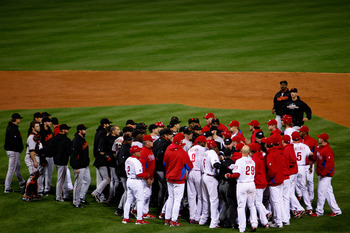 PHILADELPHIA - OCTOBER 23:  Benches clear between the Philadelphia Phillies and the San Francisco Giants after Chase Utley was hit by a pitch in the third inning of Game Six of the NLCS during the 2010 MLB Playoffs at Citizens Bank Park on October 23, 201