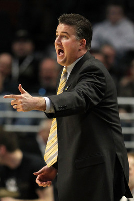 CHICAGO, IL - MARCH 18:  Head coach Matt Painter of the Purdue Boilermakers reacts while playing the St. Peter's Peacocks in the second half during the second round of the 2011 NCAA men's basketball tournament at the United Center on March 18, 2011 in Chi