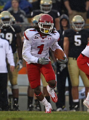 SOUTH BEND, IN - NOVEMBER 13: Shaky Smithson #1 of the Utah Utes runs back a kick against the Notre Dame Fighting Irish at Notre Dame Stadium on November 13, 2010 in South Bend, Indiana. Notre Dame defeated Utah 28-3. (Photo by Jonathan Daniel/Getty Image