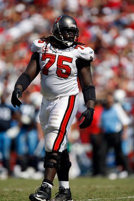 TAMPA, FL - OCTOBER 14: Guard Davin Joseph #75 of the Tampa Bay Buccaneers walks into position against the Tennessee Titans at Raymond James Stadium on October 14, 2007 in Tampa, Florida. The Bucs won 13-10.  (Photo by Allen Kee/Getty Images)