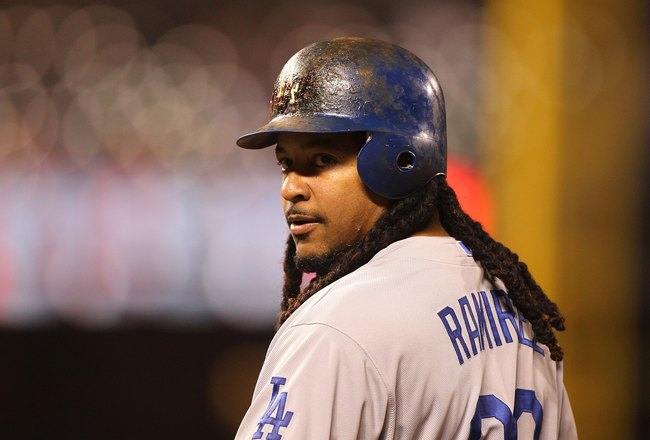 SAN FRANCISCO - JUNE 28:  Manny Ramirez #99 of the Los Angeles Dodgers in action against the San Francisco Giants during an MLB game at AT&amp;T Park on June 28, 2010 in San Francisco, California.  (Photo by Jed Jacobsohn/Getty Images)