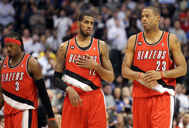 DALLAS, TX - APRIL 19:  (L-R) Gerald Wallace #3, LaMarcus Aldridge #12 and Marcus Camby #23 of the Portland Trail Blazers during a loss against the Dallas Mavericks in Game Two of the Western Conference Quarterfinals during the 2011 NBA Playoffs on April