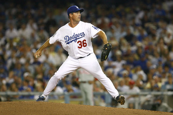 LOS ANGELES, CA - OCTOBER 15:  Pitcher Greg Maddux #36 of the Los Angeles Dodgers on the mound against the Philadelphia Phillies in Game Five of the National League Championship Series during the 2008 MLB playoffs on October 15, 2008 at Dodger Stadium in