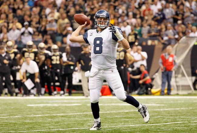 NEW ORLEANS - NOVEMBER 21:  Quarterback Matt Hasselbeck #8 of the Seattle Seahawks against the New Orleans Saints at Louisiana Superdome on November 21, 2010 in New Orleans, Louisiana.  (Photo by Kevin C. Cox/Getty Images)