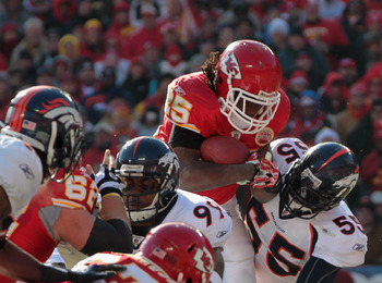 KANSAS CITY, MO - DECEMBER 05:  Jamaal Charles #25 of the Kansas City Chiefs carries the ball during the game against the Denver Broncos on December 5, 2010 at Arrowhead Stadium in Kansas City, Missouri.  (Photo by Jamie Squire/Getty Images)