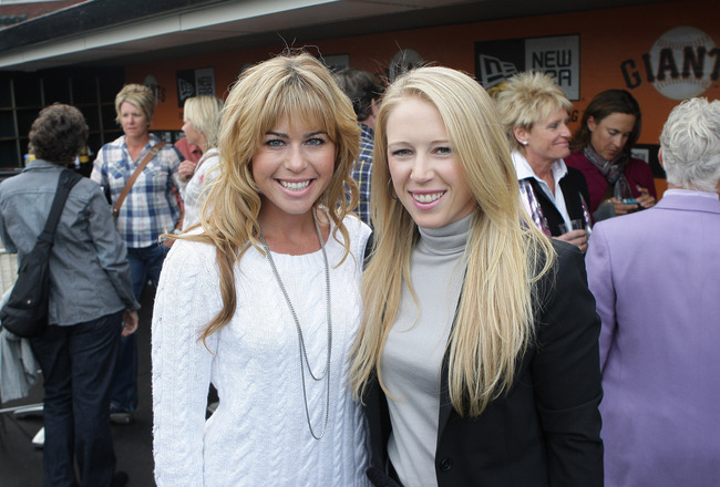 SAN FRANCISCO, CA - APRIL 05:  LPGA members  Paula Creamer (left) and Morgan Pressel (right) pose for a photo during Juli Inkster's  LPGA Hall Of Fame celebration at AT&T Park on April 5, 2011 in San Francisco, California.  (Photo by John Medina/Getty Ima