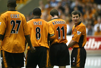 Irwin (far right) in his later days with Wolves.