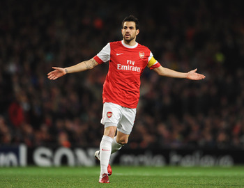 LONDON, ENGLAND - FEBRUARY 16:  Cesc Fabregas of Arsenal shows his frustration during the UEFA Champions League round of 16 first leg match between Arsenal and Barcelona at the Emirates Stadium on February 16, 2011 in London, England.  (Photo by Jasper Ju