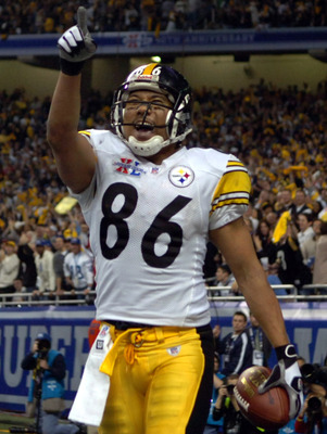 Pittsburgh Steeler Hines Ward celebrates a touchdown during Super Bowl XL between the Pittsburgh Steelers and Seattle Seahawks at Ford Field in Detroit, Michigan on February 5, 2006. (Photo by A. Messerschmidt/Getty Images)