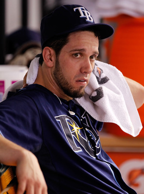 ST. PETERSBURG, FL - JULY 21:  Pitcher James Shields #33 of the Tampa Bay Rays relaxes on the bench during the game against the New York Yankees at Tropicana Field on July 21, 2011 in St. Petersburg, Florida.  (Photo by J. Meric/Getty Images)