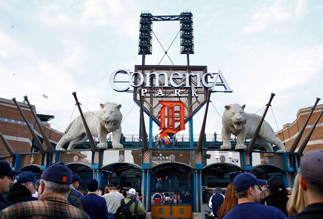 DETROIT - OCTOBER 21:  Fans stand outside of Comerica Park before Game One of 2006 World Series between the Detroit Tigers and the St. Louis Cardinals October 21, 2006 at Comerica Park in Detroit, Michigan.  (Photo by Jamie Squire/Getty Images)