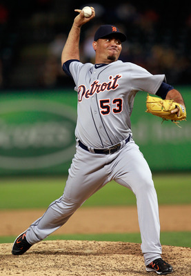 ARLINGTON, TX - JUNE 06:  Joaquin Benoit #53 of the Detroit Tigers pitches the Texas Rangers at Rangers Ballpark in Arlington on June 6, 2011 in Arlington, Texas. The Tigers beat the Rangers 13-7.  (Photo by Tom Pennington/Getty Images)