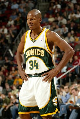 SEATTLE - NOVEMBER 17:  Ray Allen #34 of the Seattle Sonics stands on the court during the game against the Utah Jazz on November 17, 2006 at Key Arena in Seattle, Washington. The Jazz won 118-109. NOTE TO USER: User expressly acknowledges and agrees that