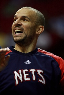 ORLANDO, FL - FEBRUARY 06:  Jason Kidd #5 of the New Jersey Nets smiles during pre-game before taking on the Orlando Magic at Amway Arena on February 6, 2008 in Orlando, Florida. NOTE TO USER: User expressly acknowledges and agrees that, by downloading an