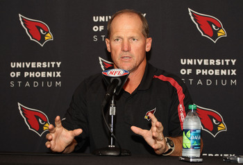 TEMPE, AZ - JULY 26:  Head coach Ken Whisenhunt of the Arizona Cardinals speaks to the media at the team's training center facility on July 26, 2011 in Tempe, Arizona.  (Photo by Christian Petersen/Getty Images)