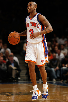 NEW YORK - OCTOBER 24:  Stephon Marbury #3 of the New York Knicks dribbles up court during the first half of a preseason game against the New Jersey Nets on October 24, 2008 at Madison Square Garden in New York City. NOTE TO USER: User expressly acknowled