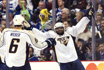 VANCOUVER, CANADA - MAY 7: Joel Ward #29 celebrates with Shea Weber #6 of the Nashville Predators after scoring a goal against the Vancouver Canucks during the third period in Game Five of the Western Conference Semifinals during the 2011 NHL Stanley Cup
