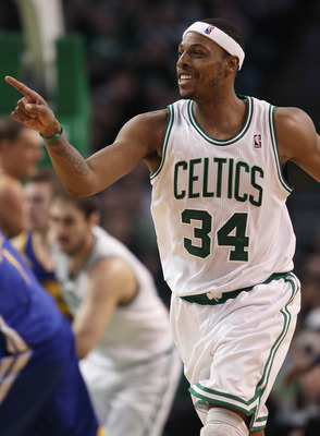 BOSTON, MA - MARCH 04:  Paul Pierce #34 of the Boston Celtics celebrates his shot in the fourth quarter against the Golden State Warriors on March 4, 2011 at the TD Garden in Boston, Massachusetts.  The Celtics defeated the Warriors 107-103. NOTE TO USER: