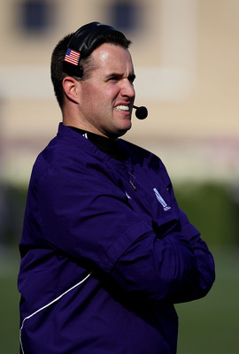 EVANSTON, IL - OCTOBER 23: Head coach Pat Fitzgerald of the Northwestern Wildcats watches as his team takes on the Michigan State Spartans at Ryan Field on October 23, 2010 in Evanston, Illinois. Michigan State defeated Northwestern 35-27.  (Photo by Jona