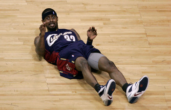 AUBURN HILLS, MI - MAY 21:  Larry Hughes #32 of the Cleveland Cavaliers looks up from the court after he fell down on a play against the Detroit Pistons in Game One of the Eastern Conference Finals during the 2007 NBA Playoffs at The Palace at Auburn Hill