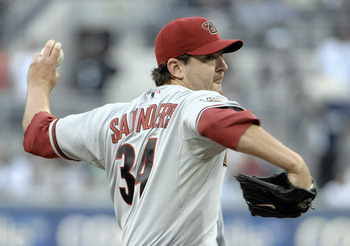 SAN DIEGO, CA - JULY 26:  Joe Saunders #34 of the Arizona Diamondbacks pitches during the first inning of a baseball game against the San Diego Padres at Petco Park on July 26, 2011 in San Diego, California.  (Photo by Denis Poroy/Getty Images)