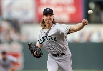 5 Oct 1997:  Pitcher Randy Johnson of the Seattle Mariners throws the ball during a game against the Baltimore Orioles at Camden Yards in Baltimore, Maryland.  The Orioles won the game, 3-1. Mandatory Credit: Doug Pensinger  /Allsport