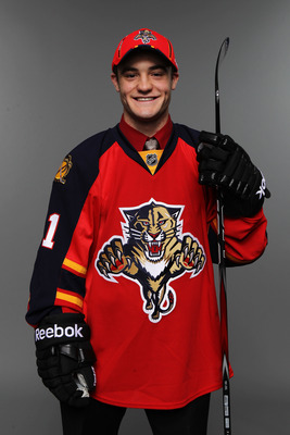 ST PAUL, MN - JUNE 25:  33rd overall pick Rocco Grimaldi of the Florida Panthers poses for a portrait during day two of the 2011 NHL Entry Draft at Xcel Energy Center on June 25, 2011 in St Paul, Minnesota.  (Photo by Nick Laham/Getty Images)