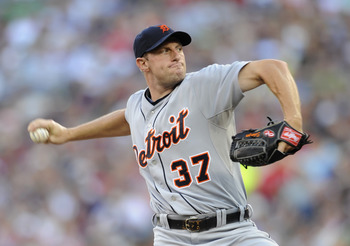 MINNEAPOLIS, MN - JULY 22: Max Scherzer #37 of the Detroit Tigers delivers a pitch against the Minnesota Twins in the first inning on July 22, 2011 at Target Field in Minneapolis, Minnesota. (Photo by Hannah Foslien/Getty Images)